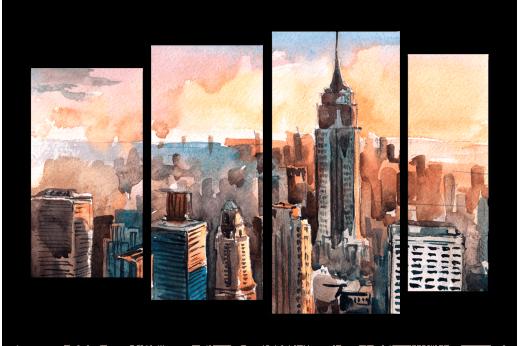 Модульная картина Нью-Йорк в акварели